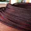 สายถัก 4 mm กลม สีดำ-แดง