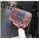 [ Pre-Order Hi-End ] - กระเป๋าคลัทช์ สะพาย สีเรนโบว์ ดีไซน์สวยหรู ฟรุ้งฟริ้ง วิ้งค์ๆทั้งใบ ขนาดกระทัดรัด
