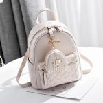 [ พร้อมส่ง ] - กระเป๋าเป้แฟชั่น สีครีมขาวมุก ปักหมุดเก๋ๆ สุดเท่ใบกลางๆ ดีไซน์สวยไม่ซ้ำใคร เหมาะกับสาว ๆ ที่ชอบกระเป๋าเป้ แถมเป๋าลูก
