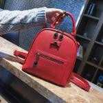 [ พร้อมส่ง Hi-End ] - กระเป๋าเป้แฟชั่น สีแดง ดีไซน์สวยเรียบหรู ดูดีสไตล์แบรนด์ งานหนังคุณภาพดี ช่องเยอะงานสวย