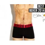 กางเกงในชาย Calvin Klein Boxer Briefs : INTENSE สีดำ ขอบแดง