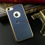 iKaku เคสครอบหลังลายเคฟล่าขอบสีทอง For Apple iPhone 7 สีน้ำเงิน
