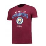 เสื้อทีเชิ้ตแมนเชสเตอร์ ซิตี้ 2018 We Are The Champions สีแดงมารูนของแท้