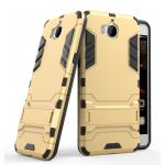 Hybrid Shockproof Armor Rubber Stand Case For Huawei Y5 2017 สีทอง