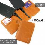 ZHUSE POWER BANK 4000mAh For Smart Phone สีน้ำตาล