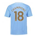 เสื้อแมนเชสเตอร์ ซิตี้ 2017-18 พิมพ์ CHAMPIONS 18 ฟอนท์ทองของแท้