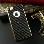 iKaku เคสครอบหลังลายเคฟล่าขอบสีทอง For Apple iPhone 7 สีดำ