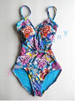 รหัส ip146 (Size S รอบอก 32-33 นิ้ว) ชุดว่ายน้ำวันพีชโทนสีฟ้าน้ำทะเล ลาย blossom --> Tu