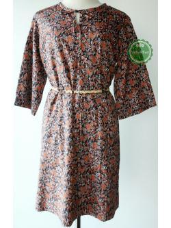 D63:Vintage dress เดรสวินเทจลายดอกไม้สีดำ-สีส้ม คอผูกโบว์ได้