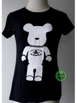 T112:2nd hand top เสื้อยืดสีดำสกรีนลายหมีสีขาวติดเพชร