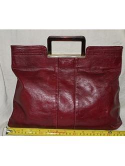 B35:Vintage leather bag กระเป๋าถือหนังแท้สีน้ำตาลแดง (สวยค่ะ)