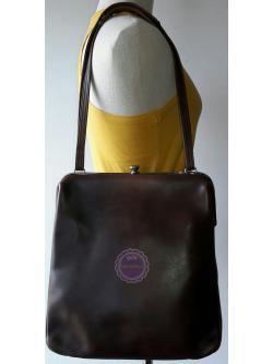 B57:Vintage leather bag กระเป๋าหนังแท้สีน้ำตาล กระเป๋าสะพาย
