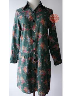 D17:2nd hand dress เดรสสีเขียวปกเชิ้ต ลายกุหลาบคลาสสิค มีกระเป๋าใต้เอวทั้ง 2ข้าง