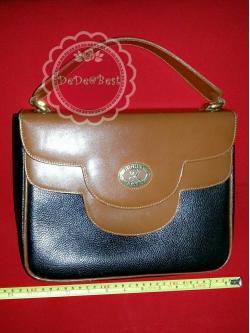 B22:Vintage leather bag กระเป๋าถือหนังแท้ทรงสี่เหลี่ยมสีน้ำตาลและดำ วินเทจแฟชั่น