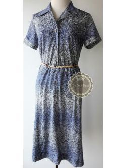 D36:Vintage dress เดรสวินเทจโทนสีน้ำเงิน made in Japan