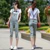 ชุดเอี๊ยม กางเกงยีนส์ยาวสี่ส่วน สีฟ้าอ่อน