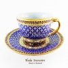 ของที่ระลึก แก้วกาแฟเบญจรงค์ ทรงกลม ลวดลายพิกุลดอกเล็ก โทนสีน้ำเงิน ลายเนื้อนูนเคลือบผิวด้าน สินค้าพร้อมส่ง (ราคาไม่รวมกล่อง)