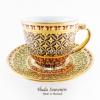 ของที่ระลึก แก้วกาแฟเบญจรงค์ ทรงกลม ลวดลายดอกพิกุลสีเหลือง ลายเนื้อนูนเคลือบผิวด้าน สินค้าพร้อมส่ง (ราคาไม่รวมกล่อง)