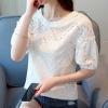 เสื้อเชิ้ตแขนสั้น แฟชั่นเกาหลี ลายลูกไม้ สีขาว