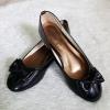 รองเท้าคัชชูหนังแก้วเด็กหญิงสีดำ Sainte ประดับโบว์น่ารัก Size 36-42