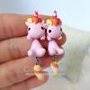 Pink Unicorn ต่างหู ม้ายูนิคอร์น สีชมพู