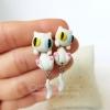 ต่างหูดินปั้น แมวขาว White cat Earrings