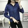 เสื้อเชิ้ตแฟชั่นแขนยาว สีน้ำเงิน