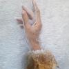 ถุงมือลูกไม้เด็ก - ผู้ใหญ่ ผ้าตาข่าย สีขาวแคบทอง Size SS - XL