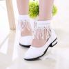 รองเท้าคัชชูเด็กหญิงสีขาว ตกแต่งลูกไม้รัดข้อเท้า หรูหรา