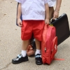 ( พรีเมี่ยม ตราเขลางค์เมืองเด็ก ) กางเกงนักเรียนสีแดง ซิปผ่าหน้า