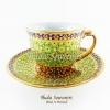 ของที่ระลึก แก้วกาแฟเบญจรงค์ ทรงกลม ลวดลายดอกมะลิ โทนสีเขียว ลายเนื้อนูนเคลือบผิวเงา สินค้าพร้อมส่ง (ราคาไม่รวมกล่อง)