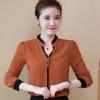 เสื้อเชิ้ตแฟชั่นเกาหลี คอวี แขนยาว แต่งกระดุมกลม