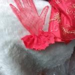 ถุงมืือลูกไม้เด็ก - ผู้ใหญ่ ผ้าตาข่าย สีแดง Size SS - XL