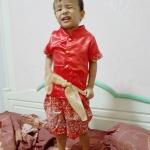 ชุดไทยเด็กชายแขนสั้น โจงกระเบน ผ้ามัน พร้อมผ้าคาดเอว Size 2-6