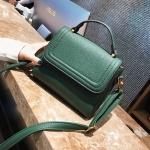 [ พร้อมส่ง ] - กระเป๋าถือ/สะพาย สีเขียวเข้ม ขนาดกระทัดรัด ดีไซน์สวยเรียบหรู ดูดี งานหนังแบบด้าน คุณภาพดีค่ะ