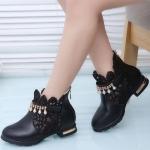 รองเท้าบู๊ทสั้น สีดำ ประดับเส้นเพชร เสริมส้น Size 27-37