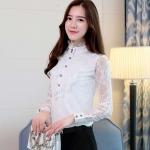 เสื้อเชิ้ตแฟชั่นเกาหลี คอปีนแขนยาว ผ้าลูกไม้ สีขาว สีดำ