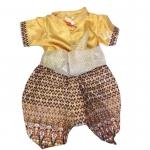ชุดไทยเด็กชายแขนสั้น โจงกระเบน ผ้ามัน พร้อมผ้าคาดเอว Size 2-14