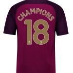 เสื้อแมนเชสเตอร์ ซิตี้ 2017-18 เสื้อเยือน พิมพ์ CHAMPIONS 18 ฟอนท์ทองของแท้