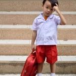 ( มาตราฐาน Muangdek ) เสื้ออนุบาลนักเรียนชาย แขนสั้น คอฮาวาย เอวบ๊อบ