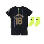 เสื้อไนกี้แมนเชสเตอร์ ซิตี้ 2018 2019 ทีมเยือน Champions 18 สำหรับเด็กทารกของแท้