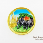 Magnet แม่เหล็กติดตู้เย็น วัสดุเรซิ่น ลายไทย ลวดลายช้างและวัดไทย ปั้มลายเนื้อนูน ลงสีสวยงาม สินค้าพร้อมส่ง