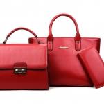 [ พร้อมส่ง Hi-End ] - กระเป๋าแฟชั่น Set 3 ชิ้น สีแดงโดดเด่น ดีไซน์แบรนด์ดัง งานหนังคุณภาพ แบบมันเงาสวยหรู คุ้มค่าสุดๆ