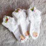ถุงเท้าเด็กหญิง สีขาวระบายลูกไม้ ประดับดอกหลากสี สำหรับเด็ก 3 - 9 ปี