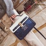 [ Pre-Order ] - กระเป๋าถือ/สะพาย สีน้ำเงิน ดีไซน์สวยน่ารัก ฟรุ้งฟริ้ง ใบกลางๆ ตกแต่งแม่กุญแจเก๋ๆ งานสวยไม่เหมือนใคร