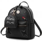 [ พร้อมส่ง ] - กระเป๋าเป้แฟชั่น สีดำคลาสสิค ปักหมุดเก๋ๆ สุดเท่ใบกลางๆ ดีไซน์สวยไม่ซ้ำใคร เหมาะกับสาว ๆ ที่ชอบกระเป๋าเป้ แถมเป๋าลูก