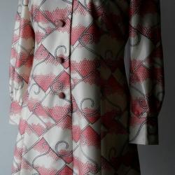 D59:Vintage dress เดรสวินเทจลายกราฟฟิค สีชมพู ครีม ดำ (ซับในทั้งตัว)