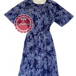 ขายแล้วค่ะ D39:Vintage dress เดรสวินเทจสีน้ำเงินลายสีขาว(มีผ้าผูกเอวค่ะ)&#x2764