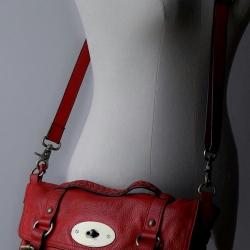 ขายแล้วค่ะ B48:2nd hand leather bag กระเป๋าหนังแท้สีแดง กระเป๋าสะพาย/ถือ/ถอดสายได้&#x2764