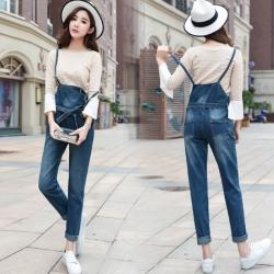 กางเกงยีนส์ขายาวเอวสูง มีสายเอี๊ยมสายคาดเอวผูกโบว์